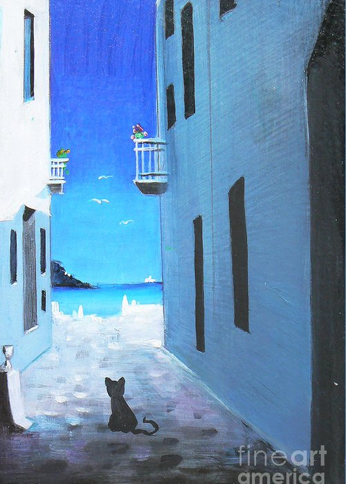 Black Greeting Card featuring the painting Contemplating by - Artificium -