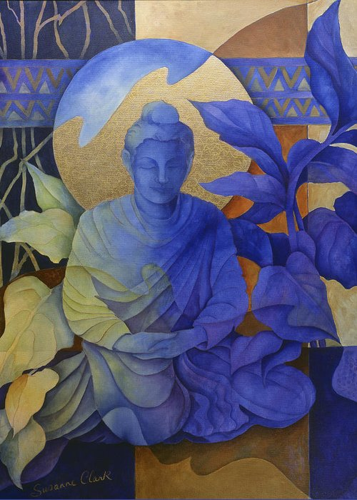 Buddha Greeting Card featuring the painting Contemplation - Buddha Meditates by Susanne Clark