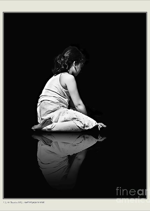 Person Greeting Card featuring the photograph Contemplation In Dark by Pedro L Gili