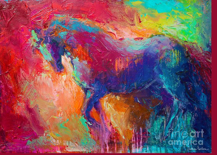 Contemporary Horse Painting Greeting Card featuring the painting Contemporary Vibrant Horse Painting by Svetlana Novikova