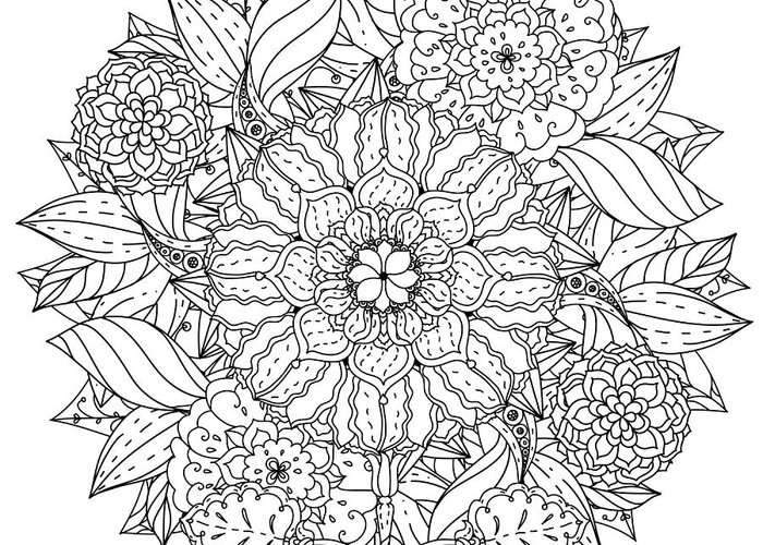 Beauty Greeting Card featuring the digital art Contoured Mandala Shape Flowers For by Mashabr