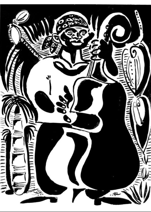 Cuba Music Dance Contra Bass Upright Bass Vaskovsky Vadim Art Print Ink Paper Watercolour Black White Carib Bandana Palm South Lino Cut Greeting Card featuring the drawing Contrabass by Vadim Vaskovsky