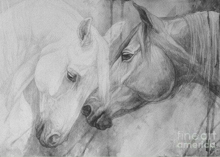 Horse Greeting Card featuring the painting Conversation II by Silvana Gabudean Dobre