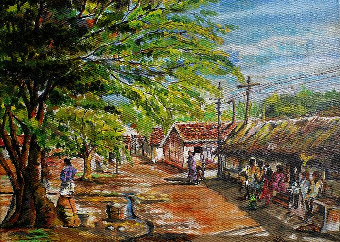 Village Life Greeting Card featuring the painting Conversations At The Thinnai by Aparna Raghunathan