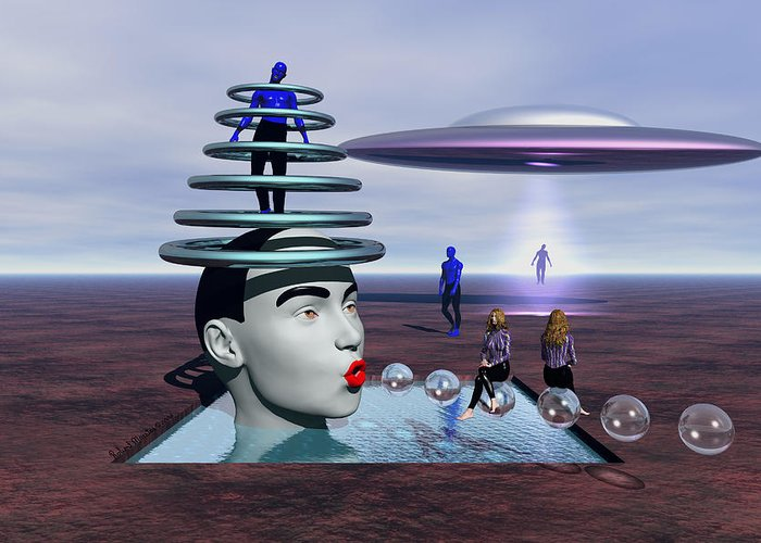 Surrealism Greeting Card featuring the painting Conversion Of Man by Robert Maestas