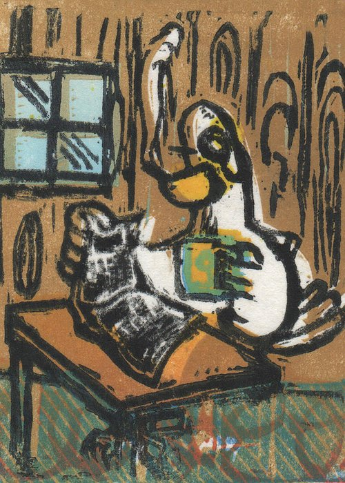 Goose Greeting Card featuring the painting Cooked Goose by Mathew Luebbert