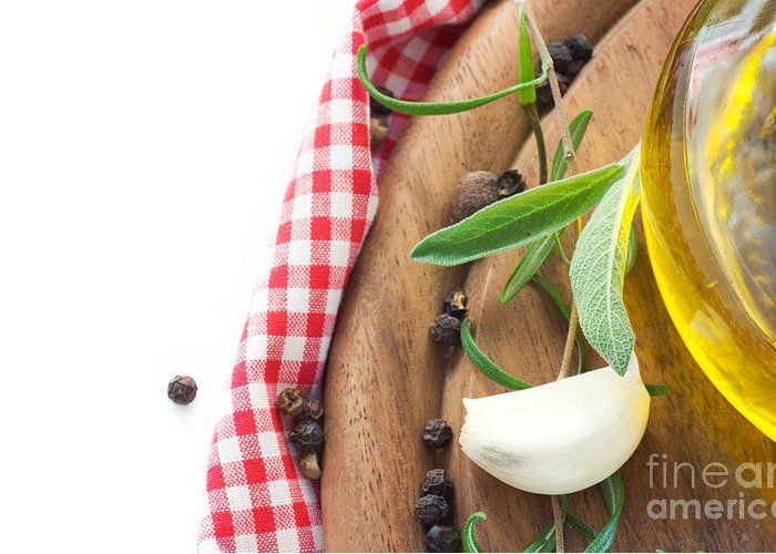 Appetizer Greeting Card featuring the photograph Cooking Ingredients by Mythja Photography