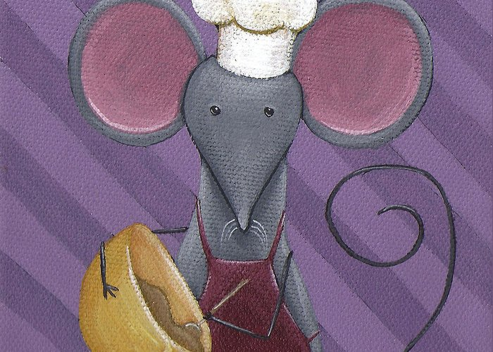 Mouse Greeting Card featuring the painting Cooking Mouse Kitchen Art by Christy Beckwith