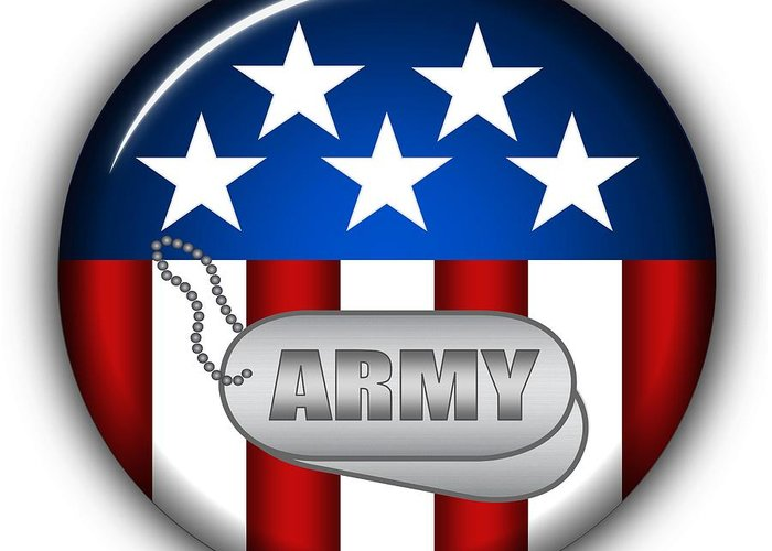 Army Greeting Card featuring the digital art Cool Army Insignia by Pamela Johnson