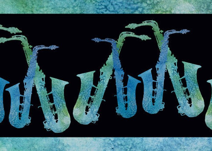 Saxes Greeting Card featuring the digital art Cool Blue Saxophone String by Jenny Armitage
