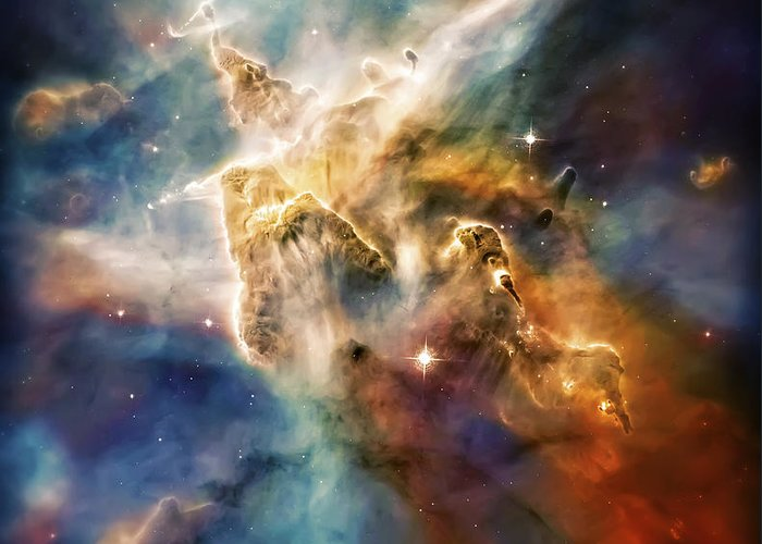 Universe Greeting Card featuring the photograph Cool Carina Nebula Pillar 4 by Jennifer Rondinelli Reilly - Fine Art Photography