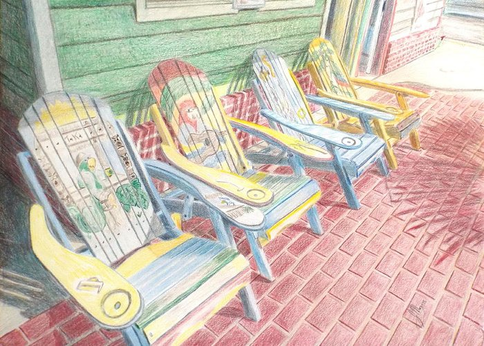 Adirondack Chairs Greeting Card featuring the painting Cool Chairs by John Meyers