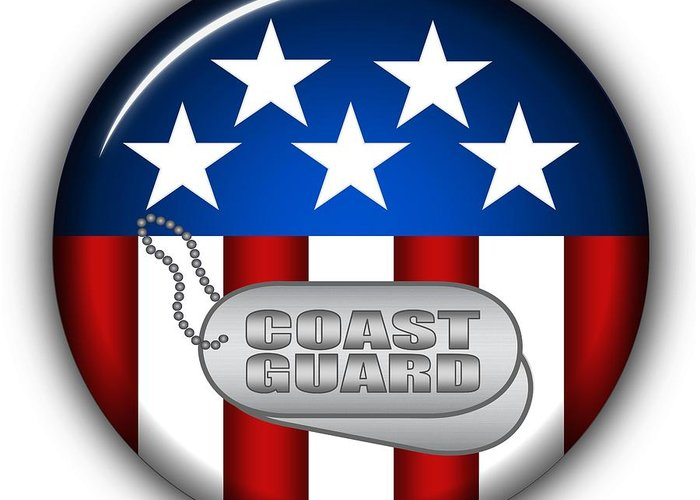 Coast Guard Greeting Card featuring the digital art Cool Coast Guard Insignia by Pamela Johnson
