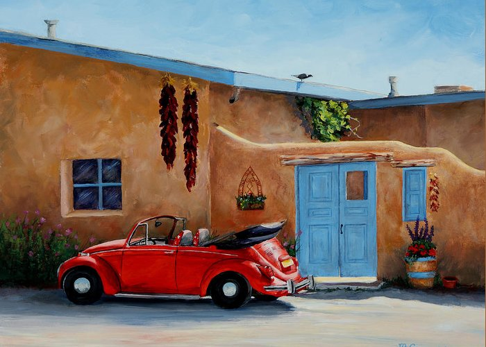 Adobe Greeting Card featuring the painting Cool Ride by Mary Giacomini