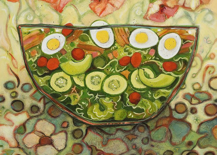 Jen Norton Greeting Card featuring the painting Cool Summer Salad by Jen Norton