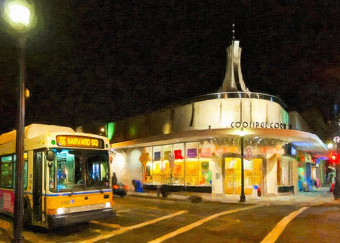 Coolidge Corner Greeting Card featuring the photograph Coolidge Corner In Brookline At Night by Mark E Tisdale