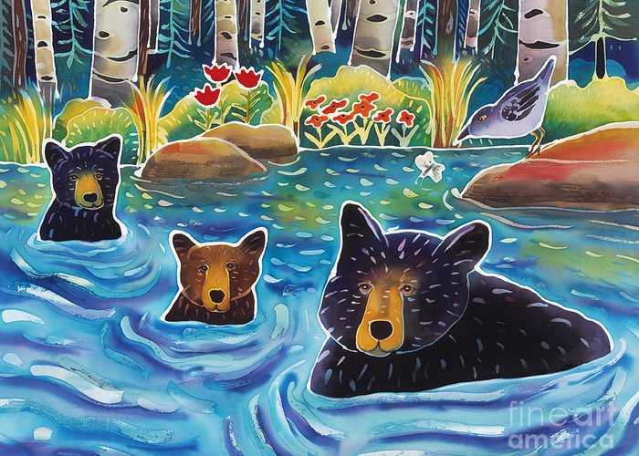 Bear Greeting Card featuring the painting Cooling Off by Harriet Peck Taylor