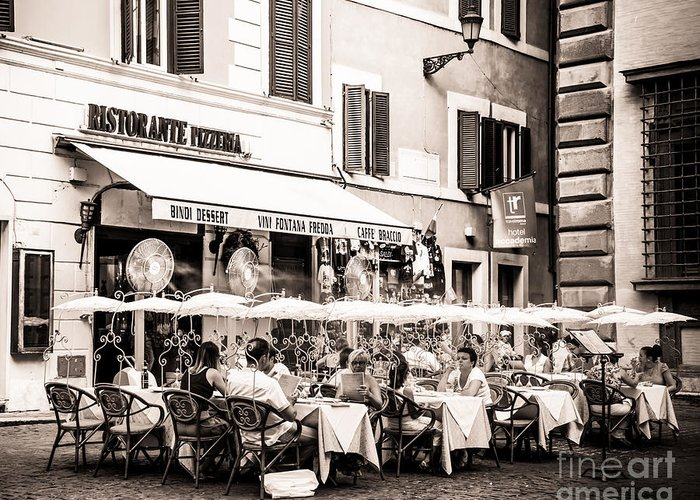 Ristorante Greeting Card featuring the photograph Cooling Off In Sepia by Christina Klausen