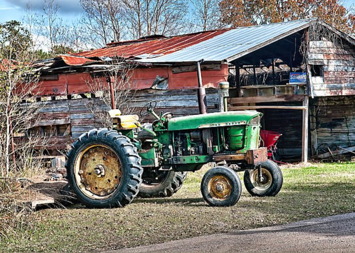 John Deere Greeting Card featuring the photograph Coosaw - John Deere Tractor by Scott Hansen