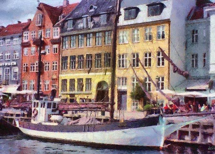 Scandinavia Greeting Card featuring the painting Copenhagen by Jeff Kolker