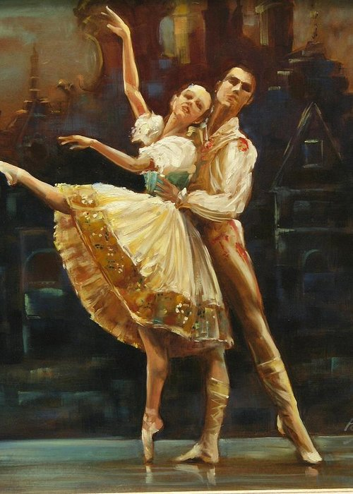 Dancers Greeting Card featuring the painting Coppelia by Podi Lawrence