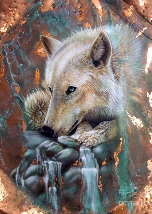 Copper Greeting Card featuring the painting Copper Arctic Wolf by Sandi Baker