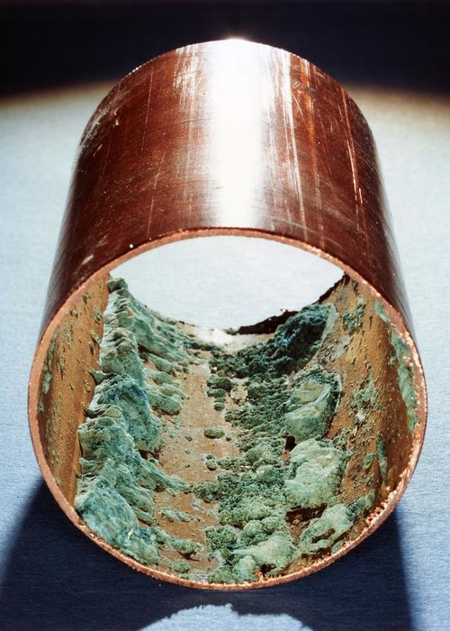 Copper Greeting Card featuring the photograph Copper Pipe Deposits by Science Photo Library