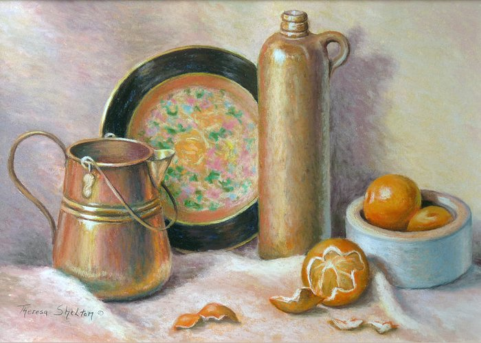 Still Life Greeting Card featuring the pastel Copper Pot With Tangerines by Theresa Shelton