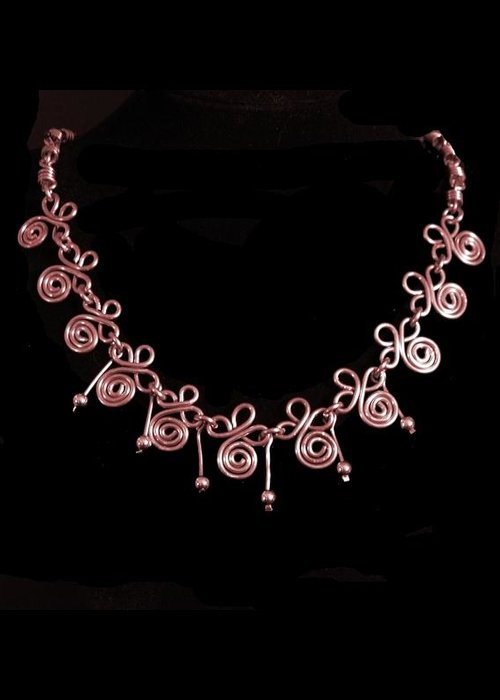 Necklace Greeting Card featuring the jewelry Copper Spirals by Jan Brieger-Scranton
