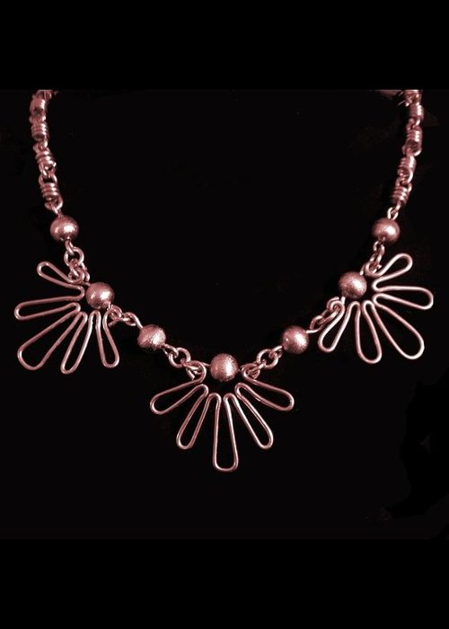 Necklace Greeting Card featuring the jewelry Copper Suns by Jan Brieger-Scranton