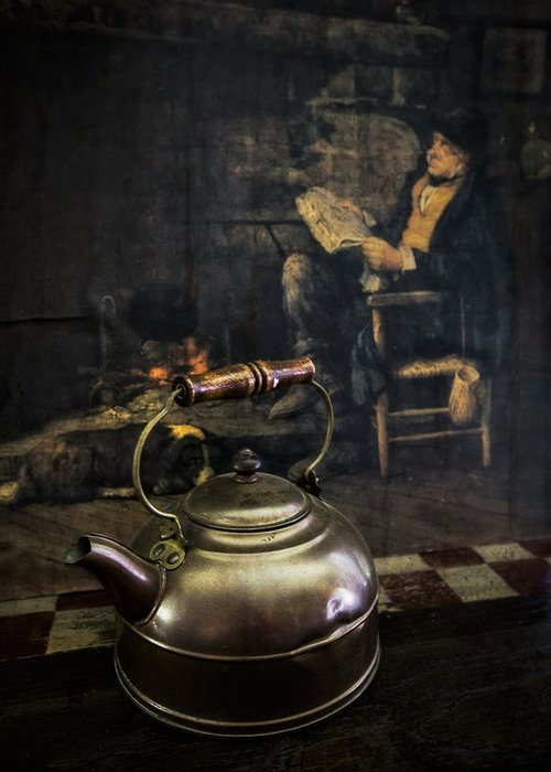 Appalachia Greeting Card featuring the photograph Copper Teapot by Debra and Dave Vanderlaan