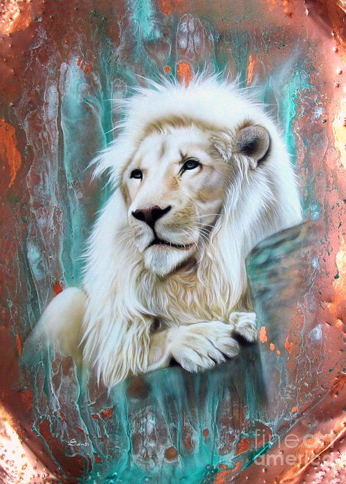 Copper Greeting Card featuring the painting Copper White Lion by Sandi Baker
