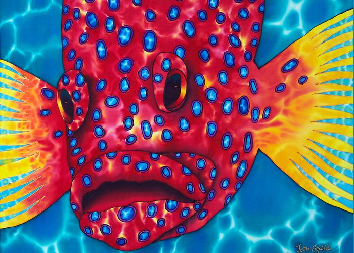 Grouper Painting Greeting Card featuring the painting Coral Grouper by Daniel Jean-Baptiste
