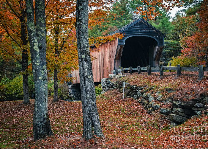 New Hampshire Greeting Card featuring the photograph Corbin Covered Bridge Newport New Hampshire by Edward Fielding