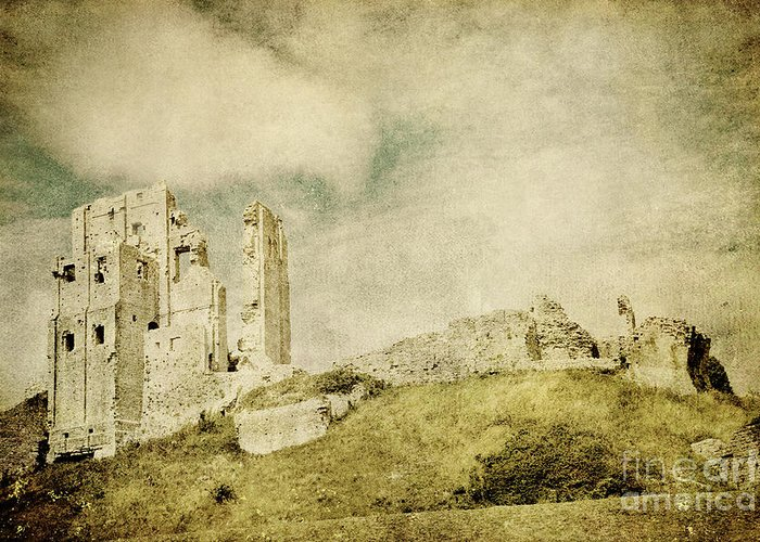 Corfe Castle Greeting Card featuring the photograph Corfe Castle - Dorset - England - Vintage Effect by Natalie Kinnear