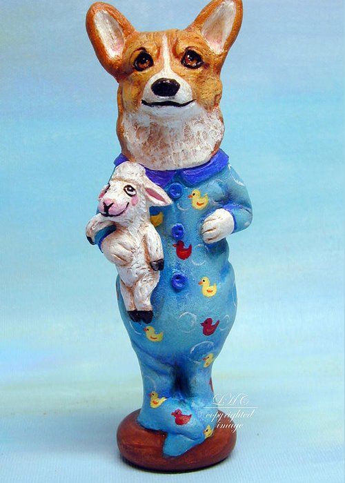 Custom Sculpture Greeting Card featuring the sculpture Corgi Cookie Please by Lyn Cook