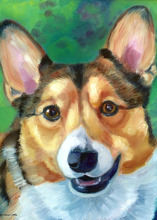 Pembroke Welsh Corgi Greeting Card featuring the painting Corgi Smile by Lyn Cook