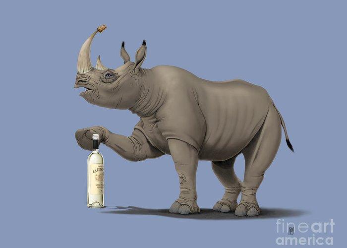 Rhinoceros Mixed Media Greeting Cards