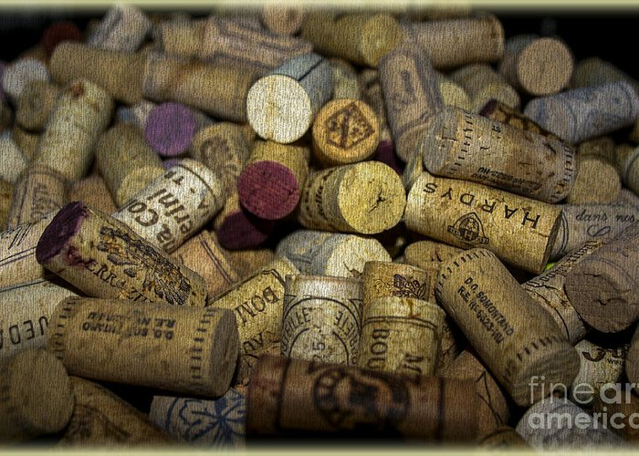 Background Greeting Card featuring the digital art Corks by Patricia Hofmeester