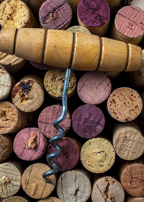 Corks Greeting Card featuring the photograph Corkscrew On Top Of Wine Corks by Garry Gay