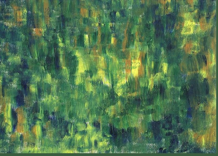 Green Greeting Card featuring the painting Corn Fields by Harmeet Singh