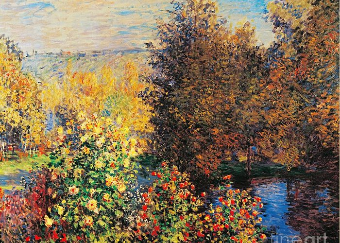 Art Greeting Card featuring the painting Corner Of Garden In Montgeron by Claude Monet