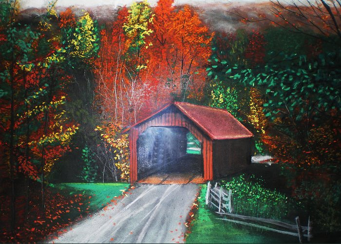 Fall Foliage Greeting Card featuring the pastel Cornwall Covered Bridge by Shannon Gerdauskas
