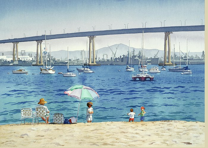 Coronado Greeting Card featuring the painting Coronado Beach And Navy Ships by Mary Helmreich