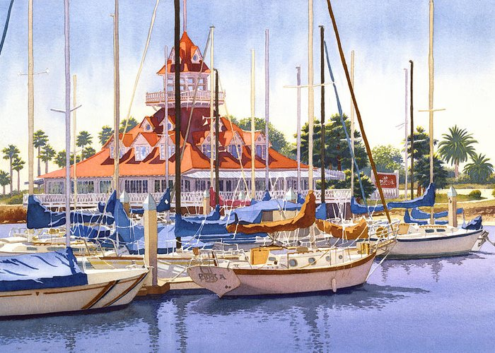Coronado Boathouse Greeting Card For Sale By Mary Helmreich