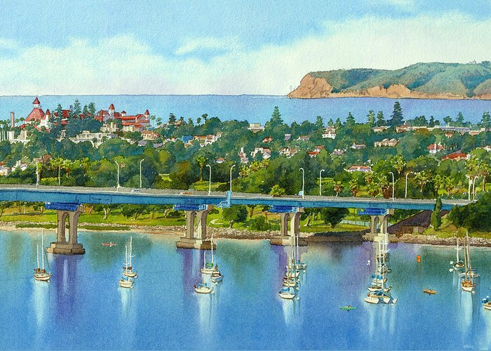 California Greeting Card featuring the painting Coronado Island California by Mary Helmreich