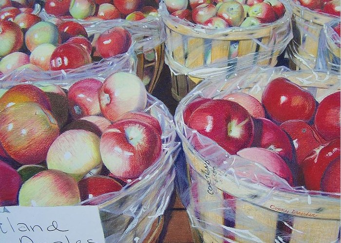 Apple Greeting Card featuring the mixed media Cortland Apples by Constance Drescher