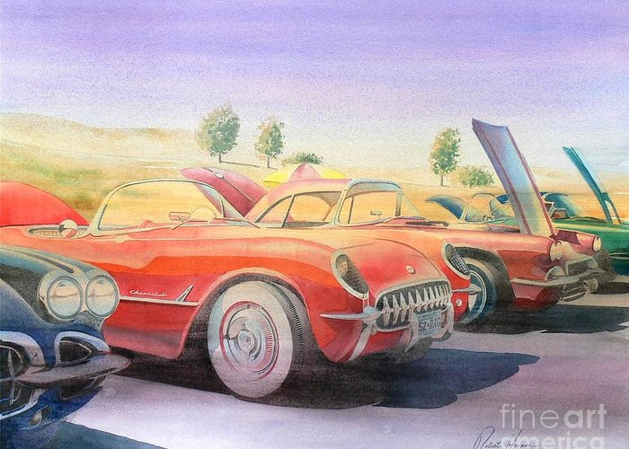 Watercolor Greeting Card featuring the painting Corvette Show by Robert Hooper