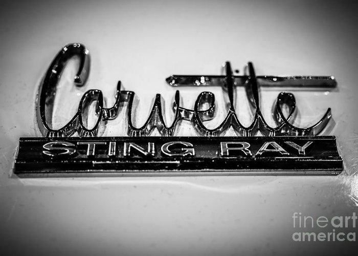 1960's Greeting Card featuring the photograph Corvette Sting Ray Emblem by Paul Velgos