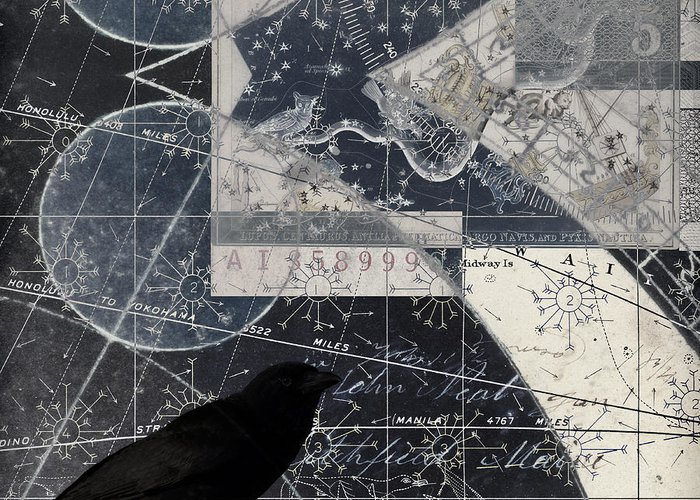 Crow Greeting Card featuring the photograph Corvus Star Chart by Carol Leigh